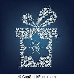 uppe, snöflinga, diamanter, gåva, gjord, gåva, lott