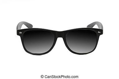uppe., svart, solglasögon, nära
