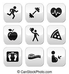 uppehällepassform, och, hälsosam, ikonen, på, glans