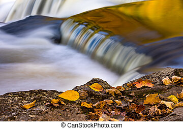 Upper Bond Falls in Autumn with Leaves