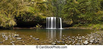 Upper Butte Creek Falls Oregon Panorama - Upper Butte Creek...