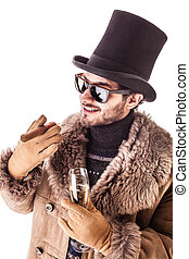 Upper class - a young man wearing a sheepskin coat isolated...