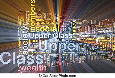 Upper class background wordcloud concept illustration...