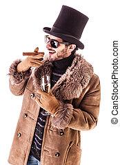 Upper class hustler - a young man wearing a sheepskin coat...