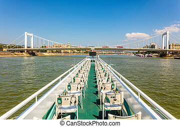 Upper deck of cruise boat on Danube river, Budapest city, Hungary
