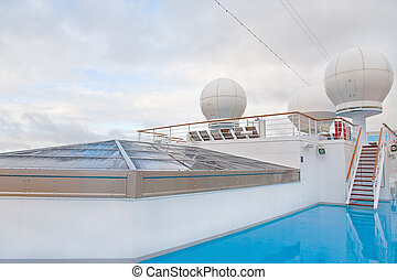 upper deck of cruise liner in overcast day