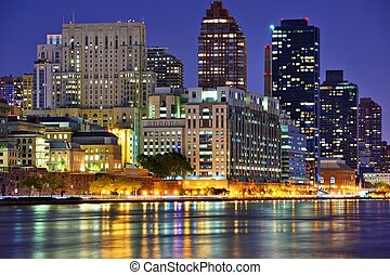 Upper East Side New York City skyline viewed from across the...