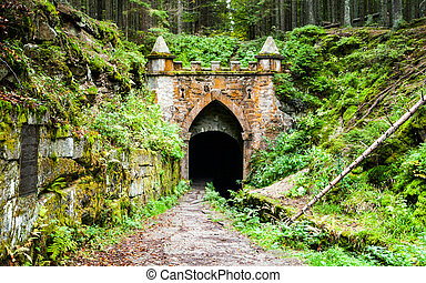 Upper entrance to tunnel of historical Schwarzenberg...