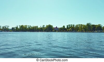 Upper Lake embankment in Kaliningrad at sunny day - Low ...