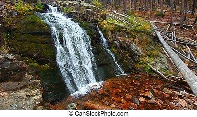 Upper Memorial Falls in Montana - Upper Memorial Falls in...