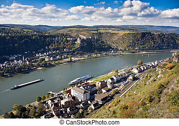 St. Goar and St. Goarshausen near Loreley, Upper Middle Rhine Valley, Germany