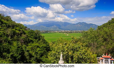 Upper of Valley Landscape Pagoda Hills in Vietnam Clouds Motion