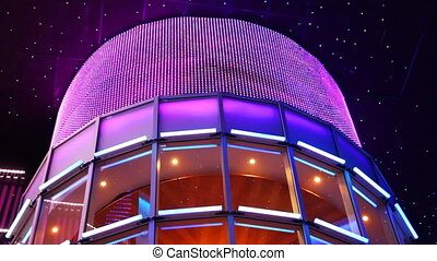 upper part of building made in form observatory on background artificial night sky