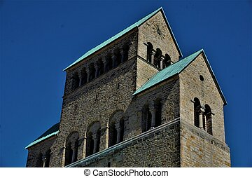 Upper part of tower of Hildesheim cathedral