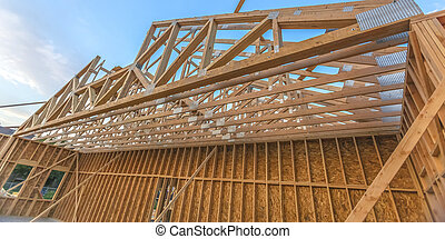 Upper roof area of new constructed building pano