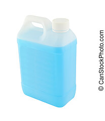 Upper side plastic gallon with blue liquid on white background.