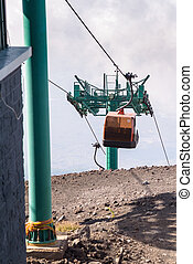 Upper station of the cable car on Mount Etna