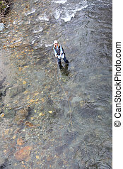 Upper view of woman fishing in river
