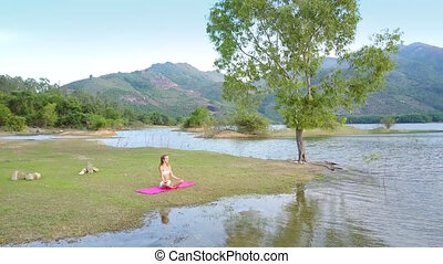 upper view tree surrounded by lake hills and girl on grass