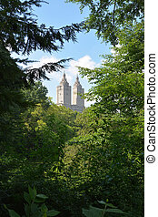 Upper West Side skyline from Central Park Lake in New York City