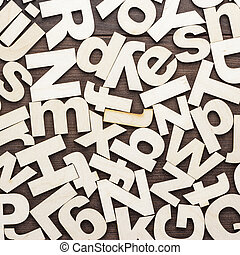 uppercase, en, onderkast, houten, brieven, achtergrond