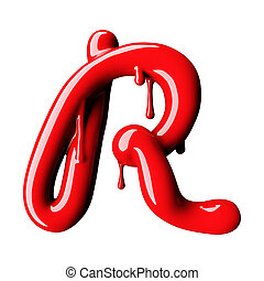 uppercase., fazendo, r, lustroso, letra, vermelho, 3d