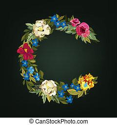 uppercase., font., c, letter., coloré, capital, alphabet., fleur