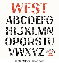 Uppercase stencil-plate sans serif font. Bold face. Color print on white background