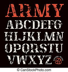 Uppercase stencil-plate serif font. Bold face. Color print on black background