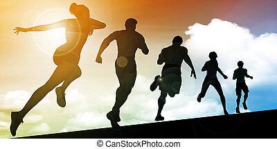 uppför, solnedgång, spring, silhuett,  man