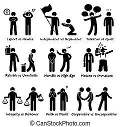 uppförande, positiv, mänsklig, motsats