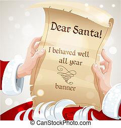 uppfört, väl, kära santa