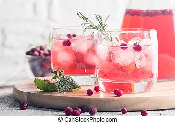 uppfriskande, dricka, med, tranbär