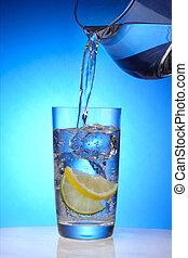 uppfriskande, glas vatten