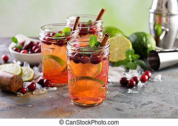 uppfriskande, vinter, cocktail, med, lime, och, tranbär