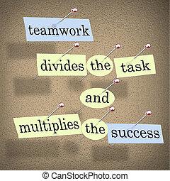 uppgift, teamwork, multiplies, framgång, delar