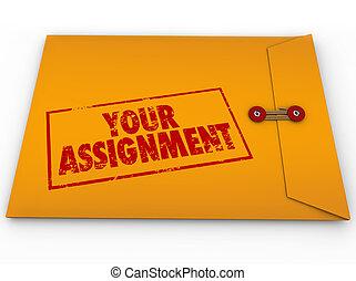 uppgift, uppgift, kuvert, gul, hemlighet, din, instruktioner