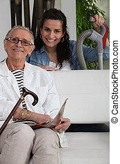 uppgifter, kvinna, henne, hushåll, ung, äldre, portion, dam