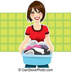 uppgifter, kvinna, tvättstuga