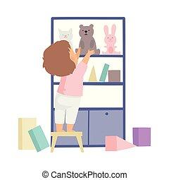 uppgifter, söt, dem, hans, skåp, pojke, uppe, illustration, hushållsarbete, vektor, sätta, rensning, toys, hem, unge