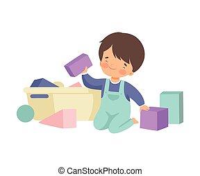 uppgifter, söt, hans, sittande, rensning, pojke, uppe, illustration, toys, hushållsarbete, vektor, golv, hem, unge