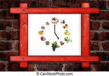 uppgjord, klocka, vägg, ram, frukter, hälsosam, isolerat, mot, mat, bakgrund, frukter, Trä, vit, tegelsten, begrepp, centrera