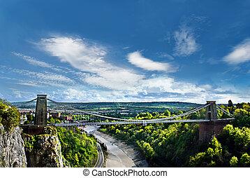 upphängning, bristol, bro, clifton, uk., berömd, värld, ...