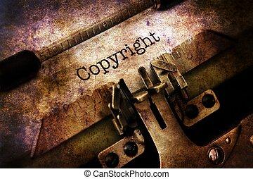 upphovsrätt, text, på, årgång, skrivmaskin