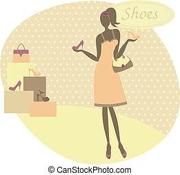 uppköp, kvinna, skor