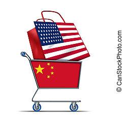 uppköp, skuld, amerikan, försäljning, porslin, u.s.