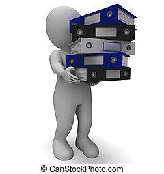 uppläggning, kontorist, bärande, organiserad, arkivalier