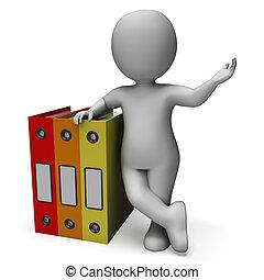 uppläggning, kontorist, visar, organiserad, arkivalier