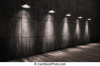 upplyst, trä, bakgrund, stort, innertak, rum, däckar, mörk, ...