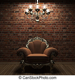 upplyst, vägg, stol, tegelsten